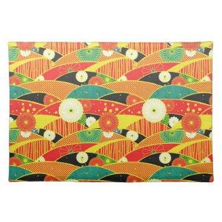 Cool oriental japanese colourful pattern cloth placemat