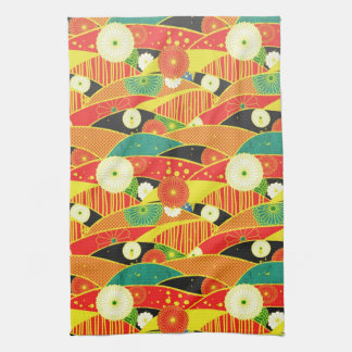 Cool oriental japanese colourful pattern hand towel
