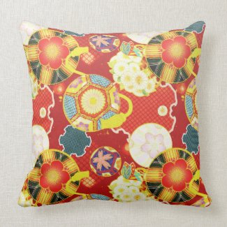 Cool oriental japanese colourful pattern throw pillow