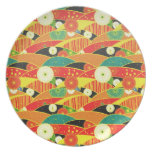 Cool oriental japanese colourful pattern dinner plate