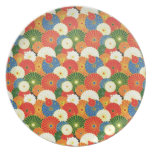 Cool oriental japanese colourful umbrela pattern party plates
