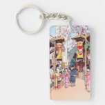 Cool oriental japanese country festival painting rectangular acrylic key chain
