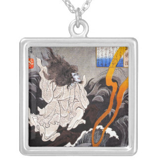 Cool oriental japanese demon sirit Kuniyoshi art Square Pendant Necklace