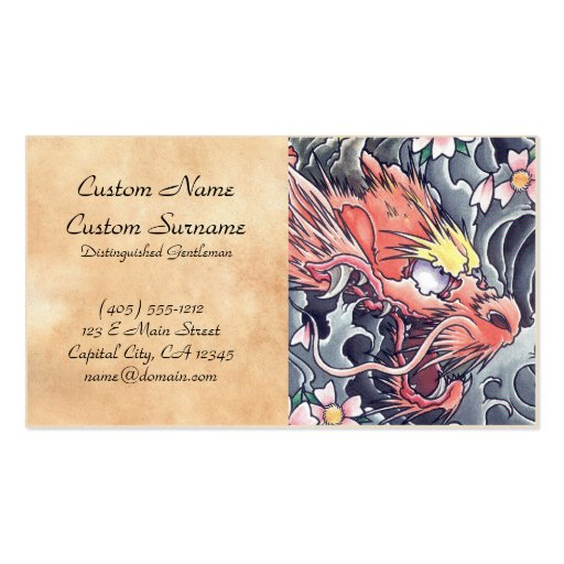 Cool oriental japanese dragon god tattoo business card templates