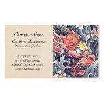 Cool oriental japanese dragon god tattoo business card