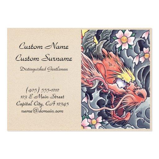 Cool oriental japanese dragon god tattoo business card