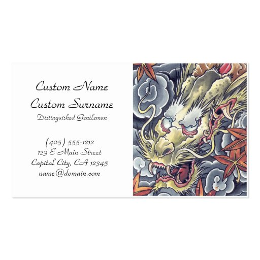 Cool oriental japanese dragon god tattoo business cards