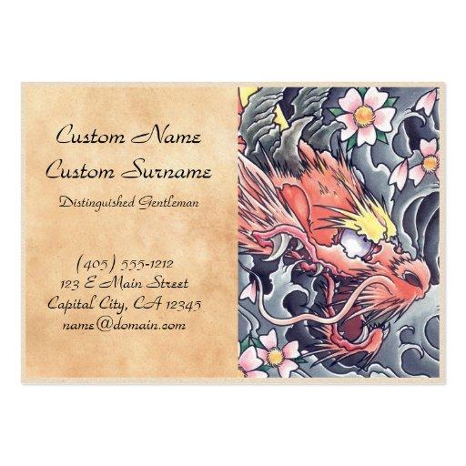 Cool oriental japanese dragon god tattoo business card template