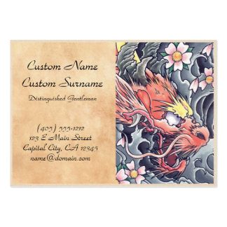 Cool oriental japanese dragon god tattoo large business card
