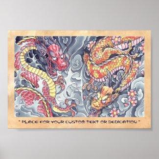 Cool oriental japanese dragon god tattoo storm