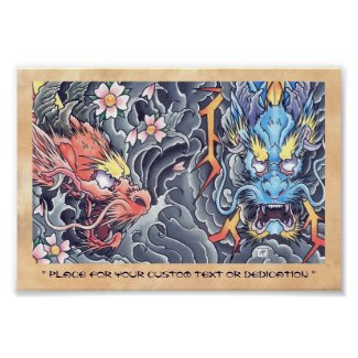 Cool oriental japanese dragon god tattoo storm posters