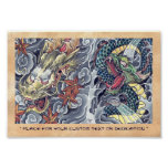 Cool oriental japanese dragon god tattoo storm poster