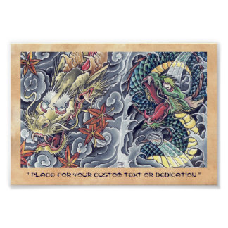 Cool oriental japanese dragon god tattoo storm poster