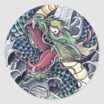 Cool oriental japanese dragon god tattoo storm round sticker