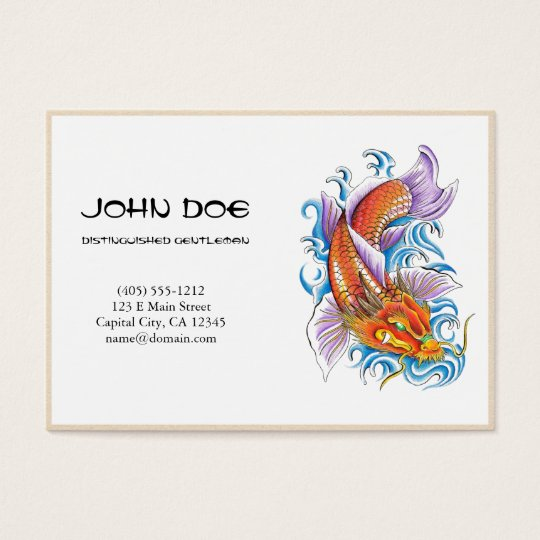 Cool oriental japanese dragon  ink lucky koi fish business card