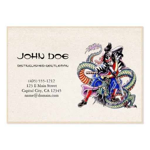Cool oriental japanese dragon samurai fight tattoo business cards