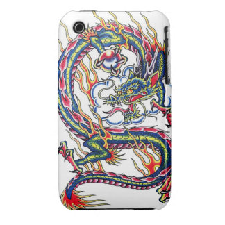Cool oriental japanese dragon with orb tattoo iPhone 3 case