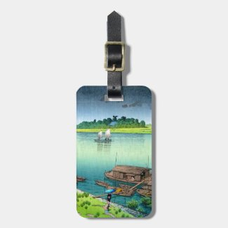 Cool oriental japanese early summer rain river bag tags