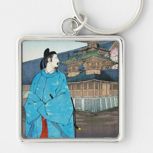 Cool oriental japanese emperor clasic art Silver-Colored square keychain
