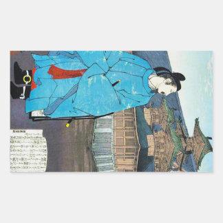 Cool oriental japanese emperor clasic art rectangular sticker