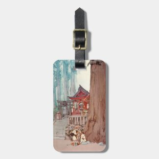 Cool oriental japanese forest shrine temple art tags for bags