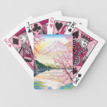 Cool oriental japanese Fuji spring cherry tree art Bicycle Playing Cards