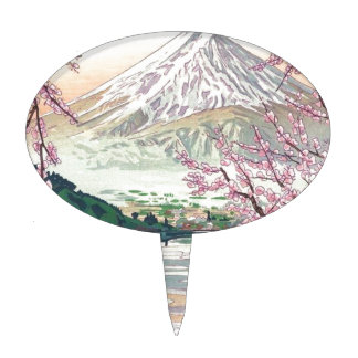 Cool Oriental Japanese Fuji Spring Cherry Tree Art Cake Topper