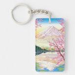 Cool oriental japanese Fuji spring cherry tree art Acrylic Keychains