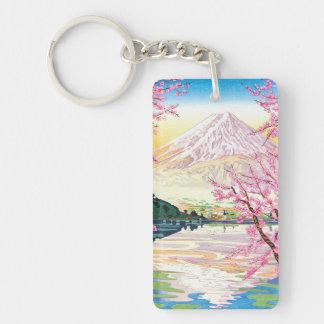 Cool oriental japanese Fuji spring cherry tree art Keychain