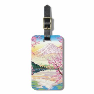 Cool oriental japanese Fuji spring cherry tree art Tags For Luggage
