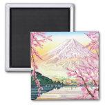 Cool oriental japanese Fuji spring cherry tree art Refrigerator Magnet