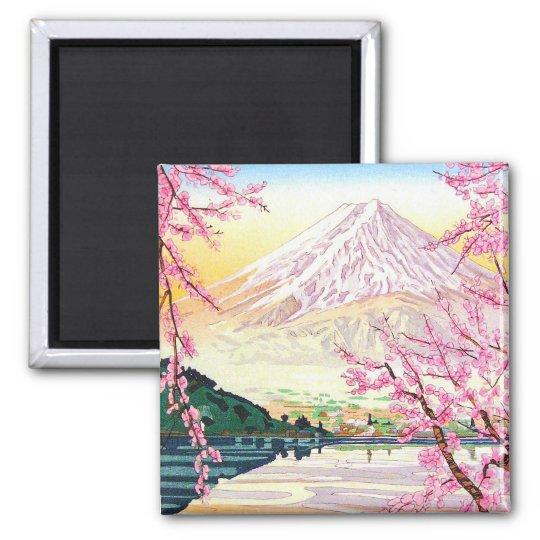 Cool oriental japanese Fuji spring cherry tree art Magnet