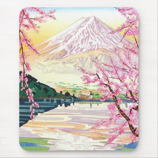 Cool oriental japanese Fuji spring cherry tree art Mouse Pads