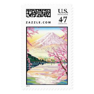 Cool oriental japanese Fuji spring cherry tree art Postage