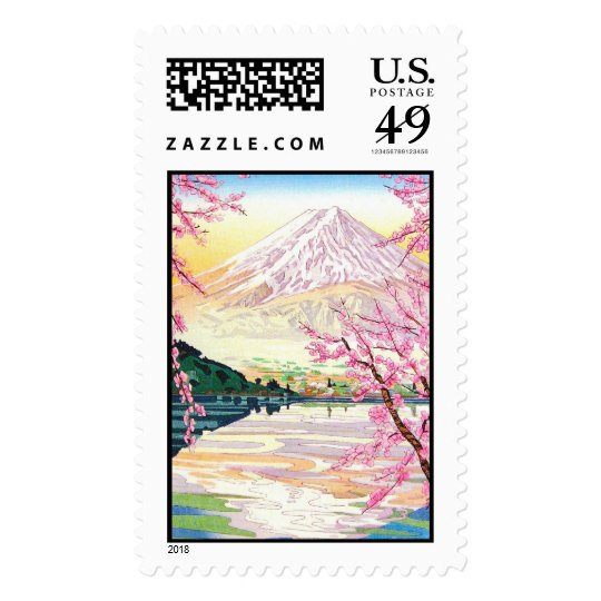 Cool oriental japanese Fuji spring cherry tree art Postage