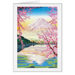 Cool oriental japanese Fuji spring cherry tree art Stationery Note Card
