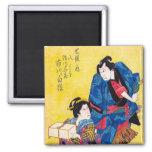 Cool oriental japanese geisha and samurai warrior 2 inch square magnet