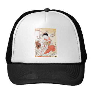 Cool Oriental Japanese Geisha Fan art Mesh Hat