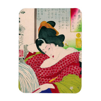 Cool oriental japanese geisha lady art woodprint magnet