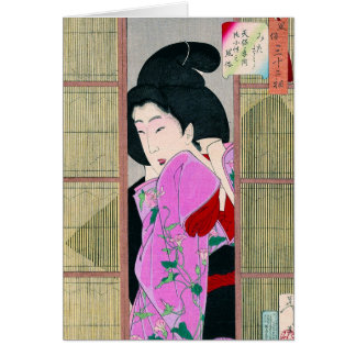 Cool oriental japanese geisha pink fabric art card