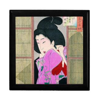 Cool oriental japanese geisha pink fabric art gift box