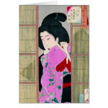 Cool oriental japanese geisha pink fabric art stationery note card
