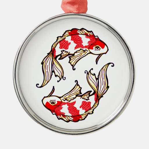 Cool Oriental Japanese Gemini Koi Fish Carp tattoo Ornament