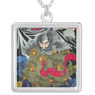 Cool oriental japanese ghost and deamons art silver plated necklace