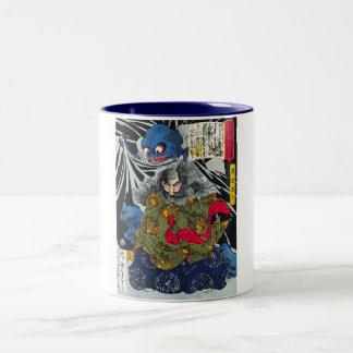 Cool oriental japanese ghost and deamons art Two-Tone coffee mug