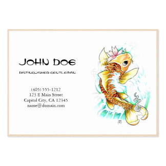 Cool oriental japanese gold ink lucky koi fish business cards