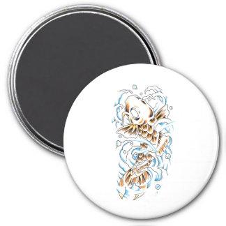 Cool Oriental Japanese Gold Koi Carp 3 Inch Round Magnet