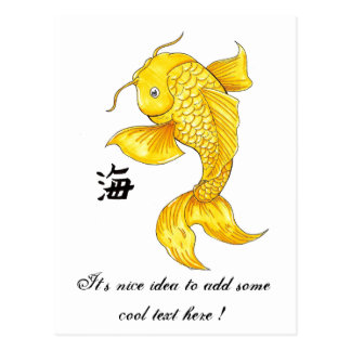 Cool Oriental Japanese Gold Koi Fish Carp tattoo Post Cards