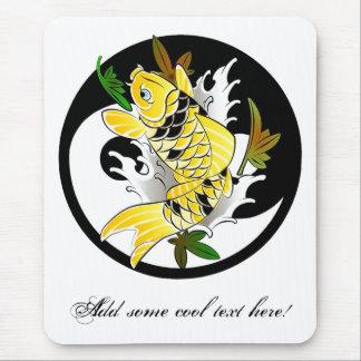 Cool Oriental Japanese Gold Koi Ying Yang tattoo Mouse Pads