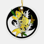 Cool Oriental Japanese Gold Koi Ying Yang tattoo Double-Sided Ceramic Round Christmas Ornament